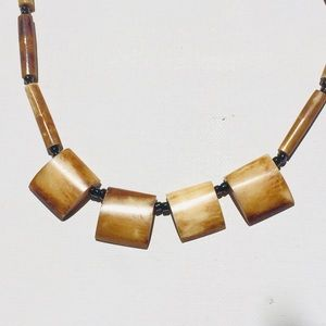 African Necklace Brown Dyed Bone Square Fringe